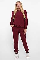 Бордовый женский спортивный костюм оригинального кроя, большого размера от 52 до 58