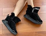 Ботинки женские зимние замша черные Tomfrie 27137, фото 6
