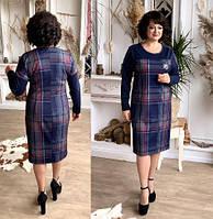 Лаконичное приталенное женское платье в стильную клетку
