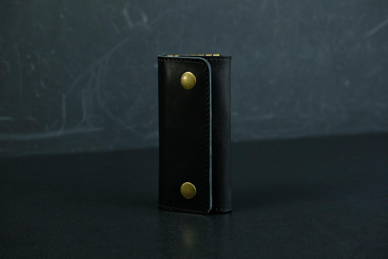 Ключница на кнопках Кожа Итальянский краст цвет Черный