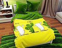 Двуспальный постельный комплект-Кактусы зеленая простынь