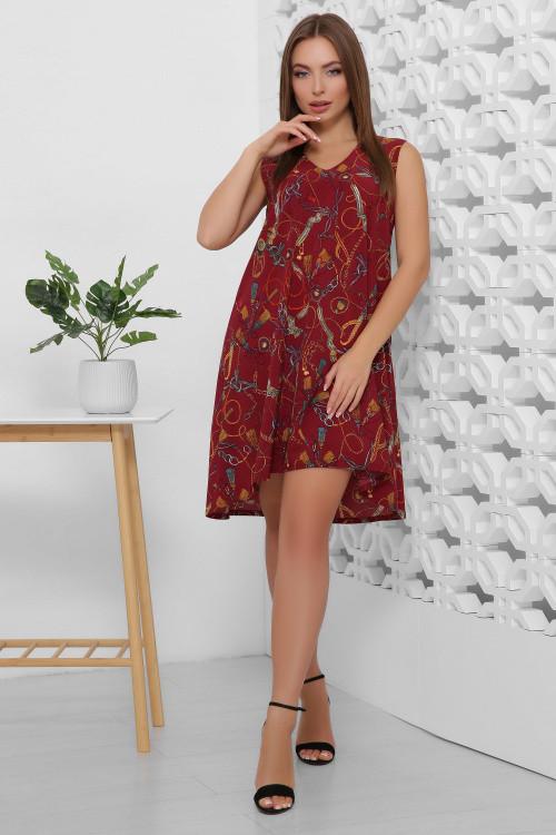 Легкое летнее платье из принтованного софта бордо