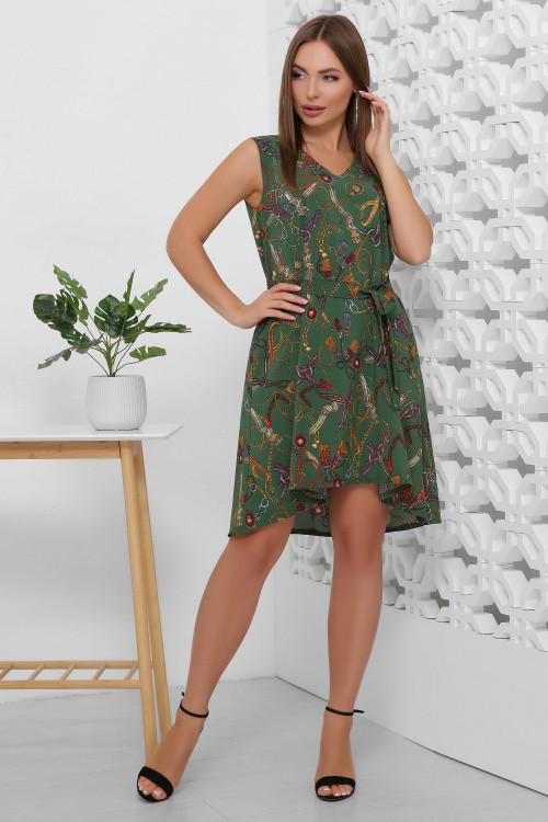 Легкое летнее платье из принтованного софта зеленое