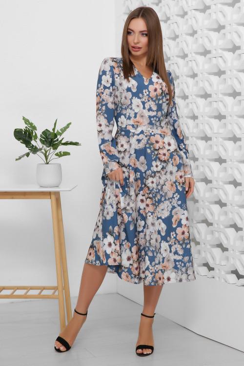 Женственное платье-миди с юбкой-полусолнце синее
