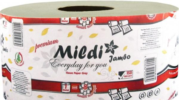 Туалетная бумага Mildi Premium Jambo однослойная 195х90 мм, серая