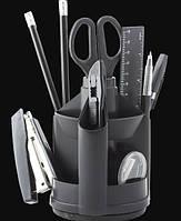 Набор настольный JOBMAX с наполнением (13 предметов), пластиковый, черный