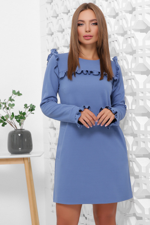 Модное платье из креп-дайвинга в офисном стиле с карманами джинс 52