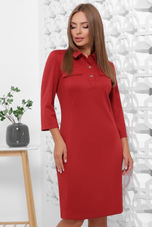 Платье поло из французского трикотажа свободного кроя кирпичное 44 р-р
