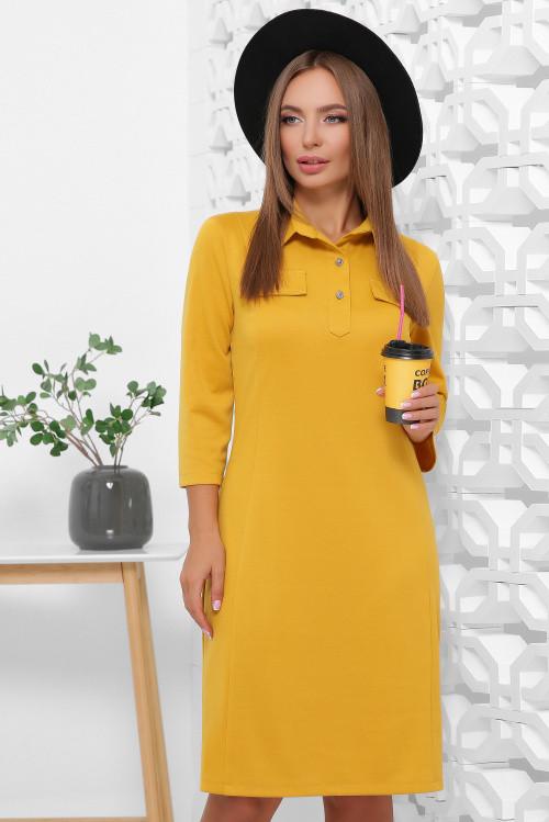 Платье поло из французского трикотажа свободного кроя горчица