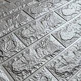 Декоративная 3D панель стеновая самоклеющаяся под кирпич СЕРЕБРО 700х770х7мм, фото 2