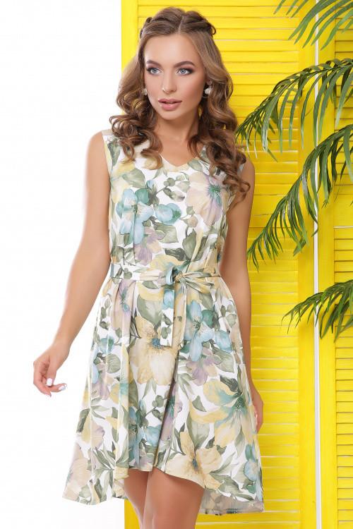 Легкое летнее платье из принтованного софта молочное 50 р-р