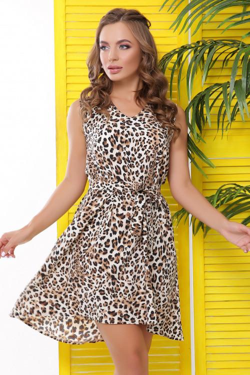 Легкое летнее платье из принтованного софта бежевое 48 р-р