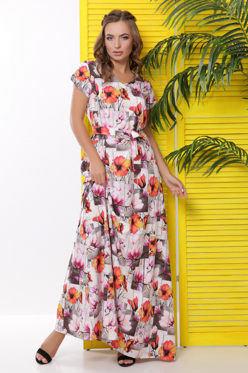 Длинное летнее платье с ярким цветочным принтом оранжевое 50-52 р-р