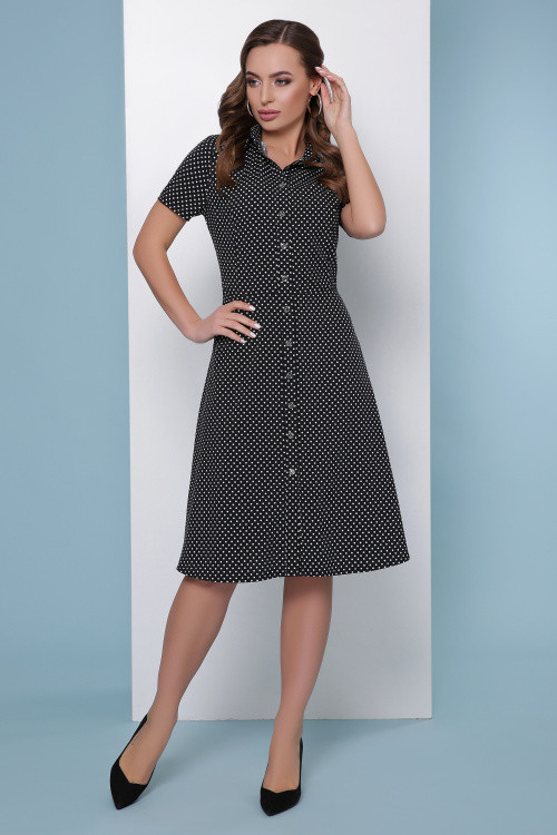 Платье-рубашка приталенного силуэта черный горох
