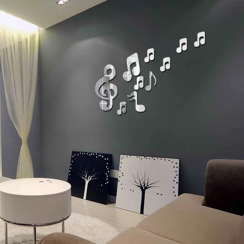 """Акриловые зеркальные наклейки на стены, окна, шкафы серебряные """"музыкальные ноты большие набор 10шт"""""""