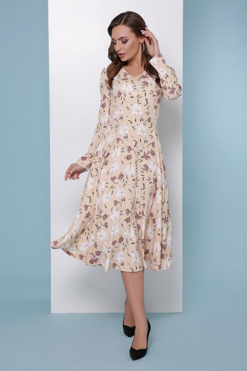 Женственное платье-миди с юбкой-полусолнце бежевое