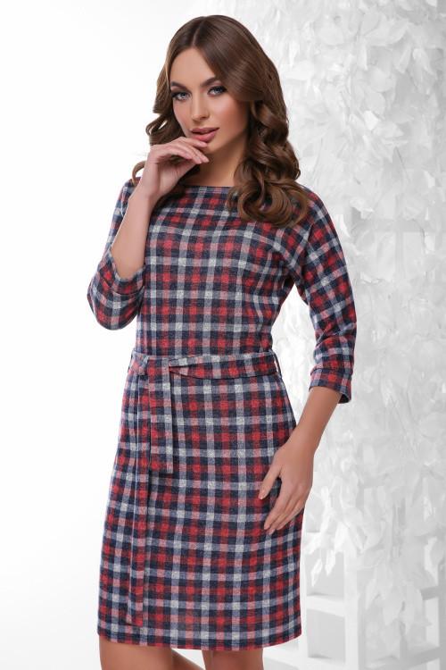 Модное платье из меланжевой ангоры бело-красное 44 р-р