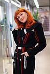 Стильное женское демисезонное пальто с капюшоном черно-красное Vam  676, фото 9