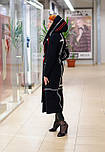 Стильне жіноче демісезонне пальто з капюшоном чорно-червоне Vam 676, фото 7
