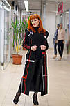 Стильне жіноче демісезонне пальто з капюшоном чорно-червоне Vam 676, фото 5