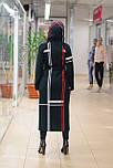 Стильне жіноче демісезонне пальто з капюшоном чорно-червоне Vam 676, фото 8