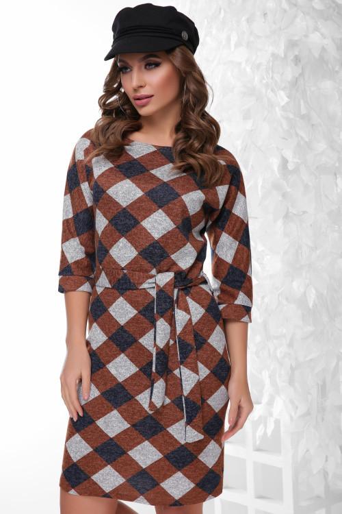 Модное платье из меланжевой ангоры коричневый ромб