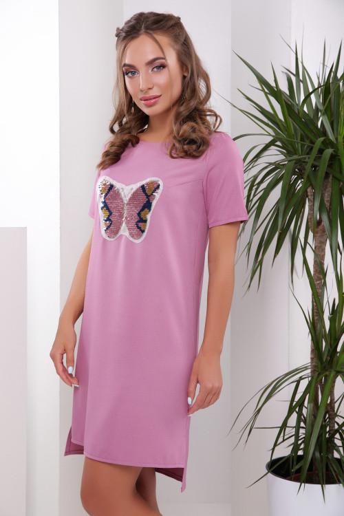 Легкое летнее платье-туника с красивой нашивкой фрез бабочка 42 размер