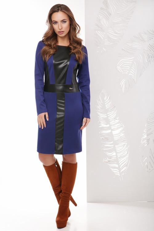 Стильное платье со вставками из эко-кожи синее