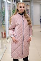 Демисезонное плащевое пальто в стиле спорт шик Ricco Тирамису