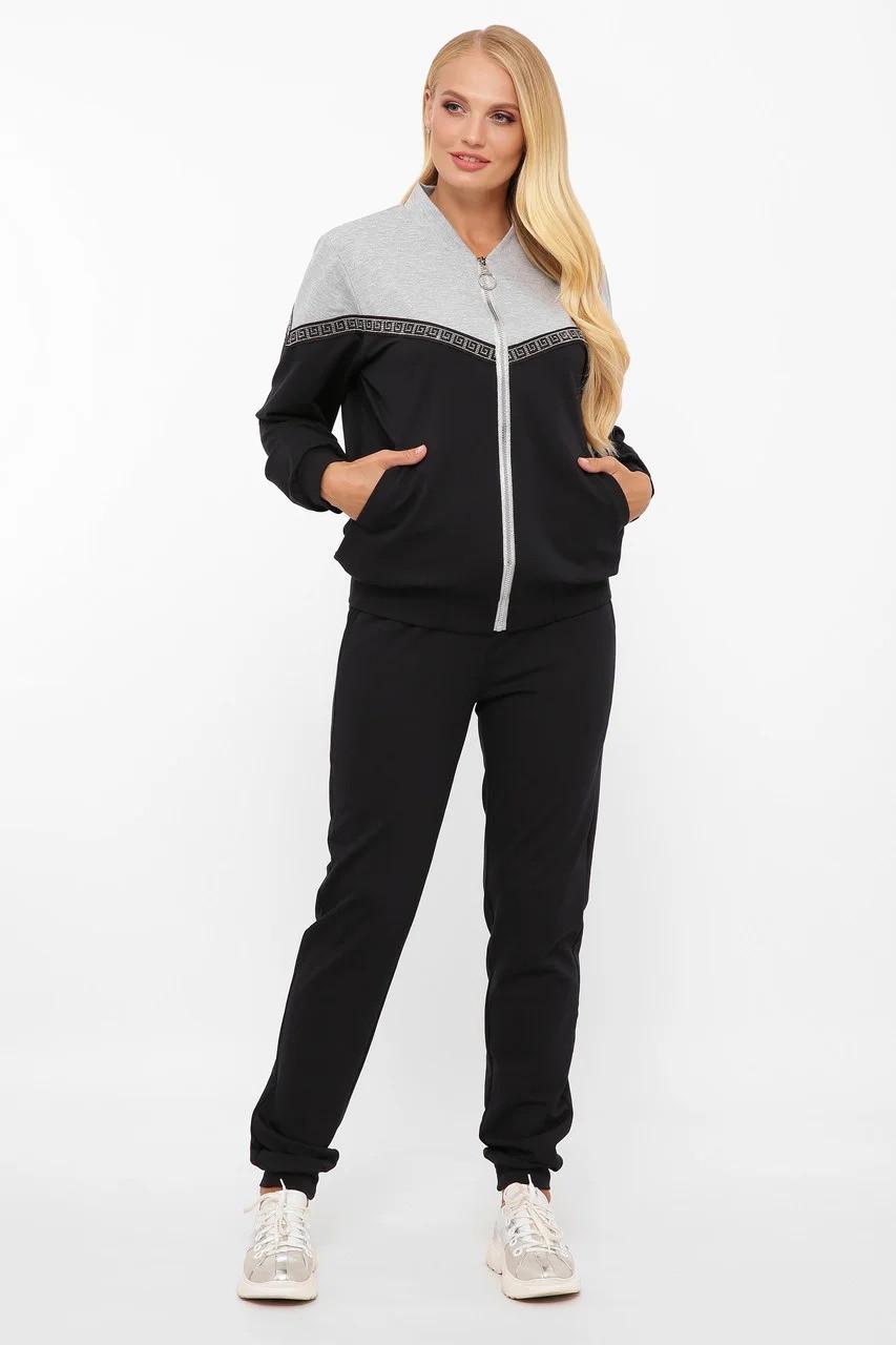 """Трендовий спортивний жіночий костюм з стрічкою з каміння """"сваровськи"""", колір синій, великого розміру від 52 до 58"""