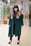 Зимнее женское пальто  из ворсовой ткани с воротником енота Ricco Столица, фото 4
