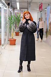 Стильне зимове жіноче пальто з манжетами з чорнобурки Ricco Рів'єра