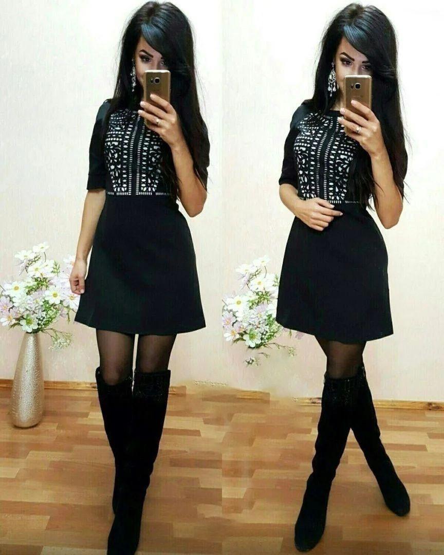 Стильное платье мини со свободной юбкой и узором