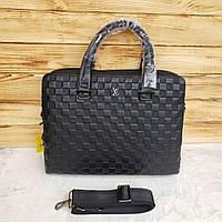 Мужской кожаный деловой портфель для документов Louis Vuitton Луи Витон чёрный реплика