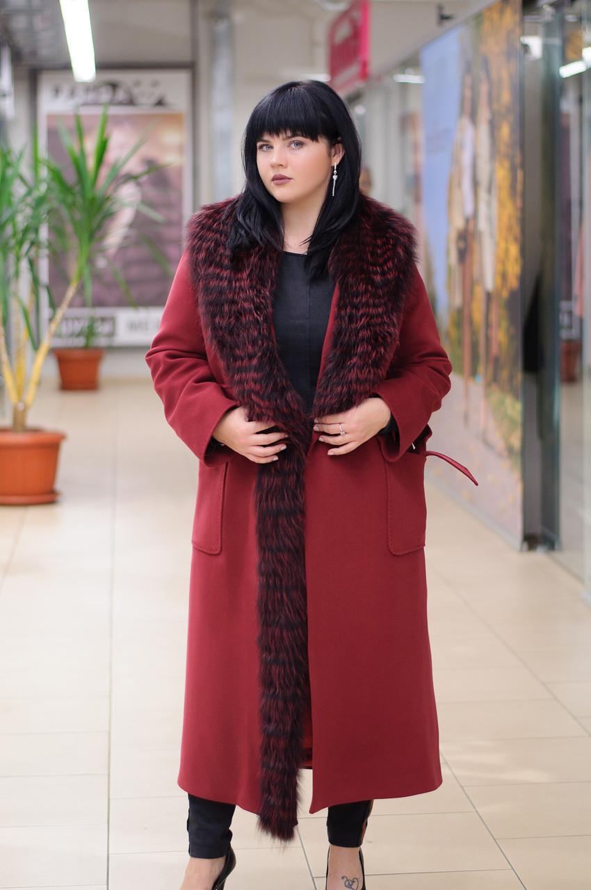 Зимове жіноче пальто-халат з хутром єнота Ricco Ніцца