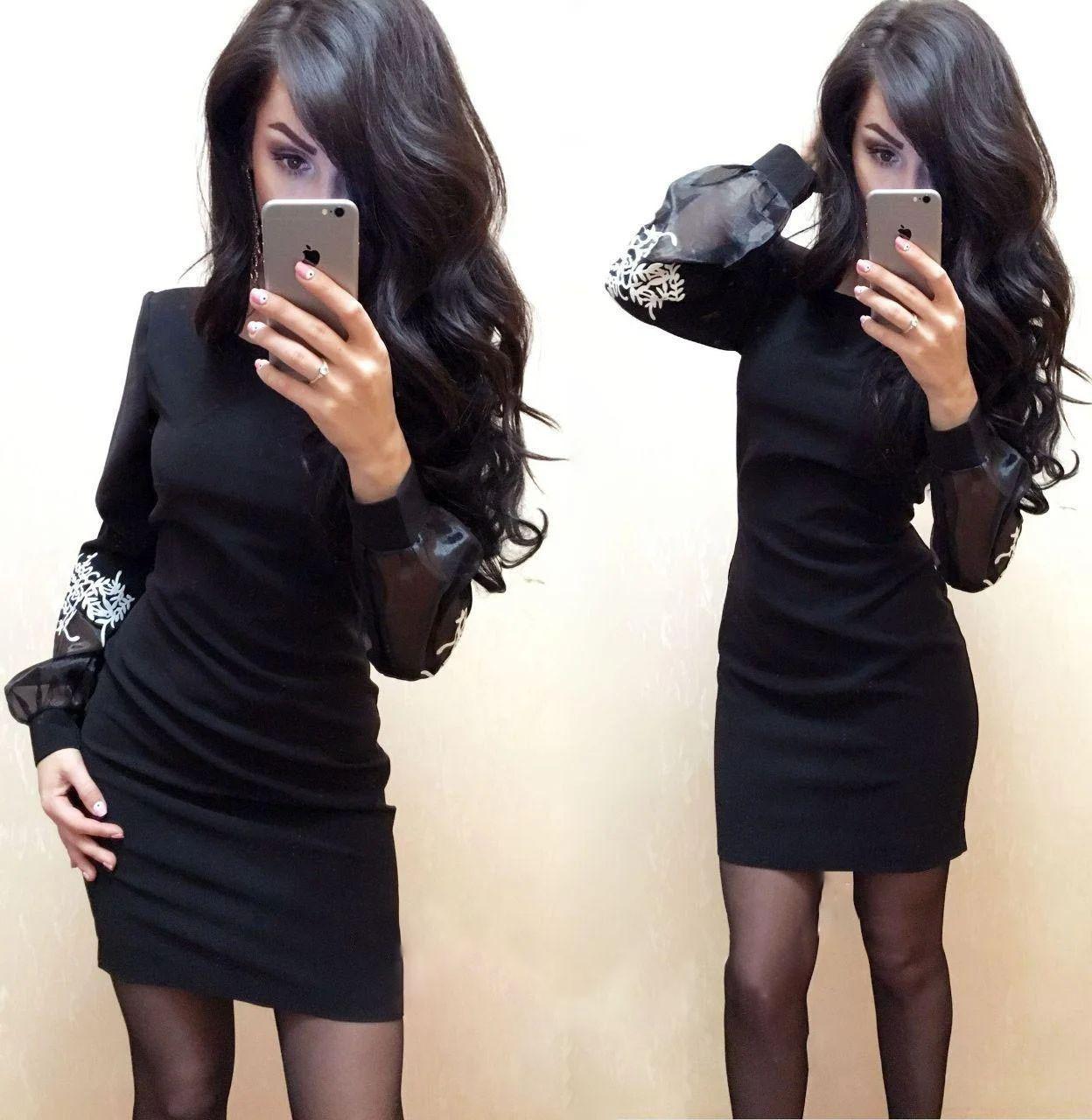 Платье короткое с необычным рукавом с сеткой и кружевом