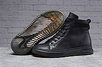 Мужские высокие ботинки на меху Philipp Plein черные кожаные кеды Филипп Плейн