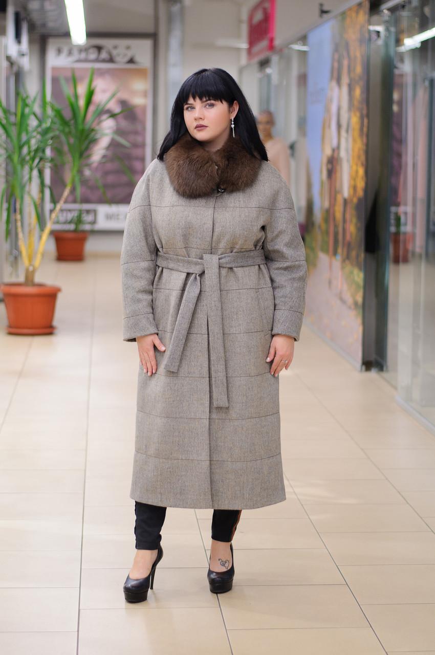 Зимнее женское удлиненное пальто с песцом Ricco Эрмитаж