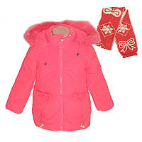 Зимняя куртка для девочки 86-110  арт.КМ-2  с шарфом
