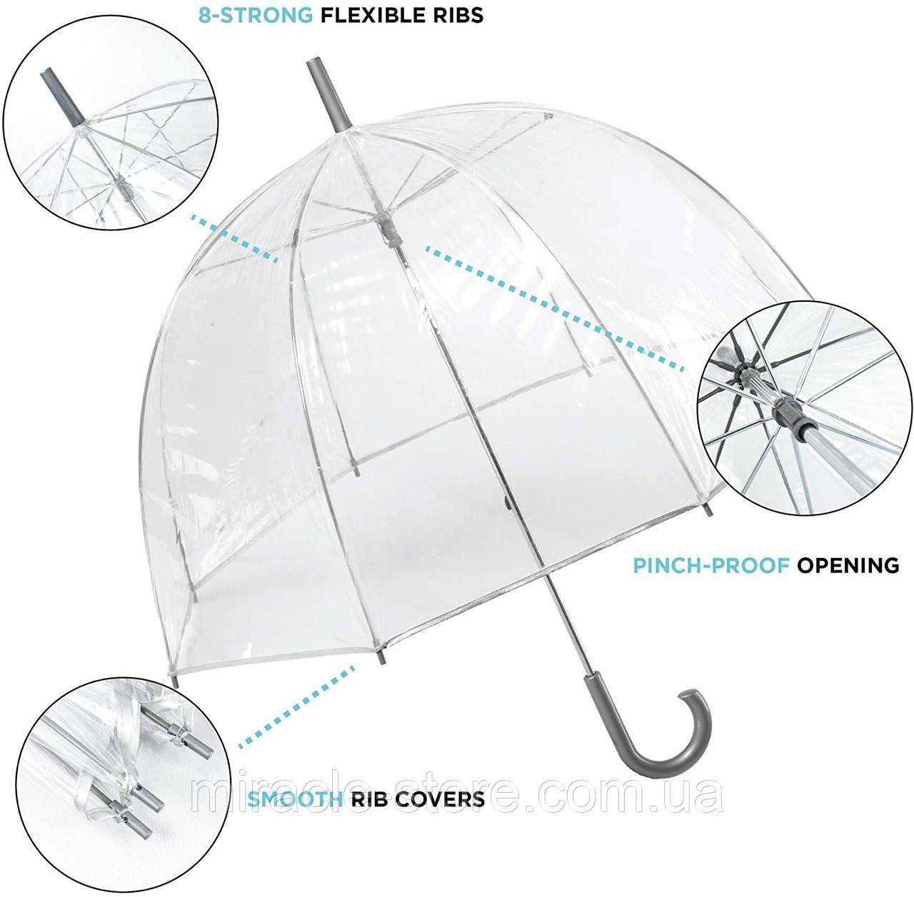 Прозорий посилений напівавтомат зонт трость антиветер з посиленими спицями