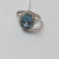 Кільце родированное з срібла і вставки блакитного цирконію Сіма, фото 1