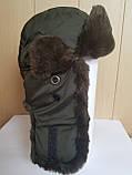 Шапка-ушанка с окантовкой из искусственного меха, фото 2