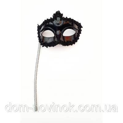 Венецианская маска Незнакомка на ручке (чёрная)