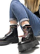 Женские ботинки Dr.Martens Dr.Martens JADON Rainbow черные кожа, демисезон ТОП Реплика ААА класса., фото 2