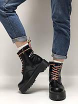Женские ботинки Dr.Martens Dr.Martens JADON Rainbow черные кожа, демисезон ТОП Реплика ААА класса., фото 3