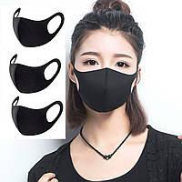 Черная маска многоразовая модная - 3 шт.
