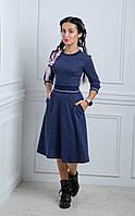 Платье женское длиной миди с юбкой полусолнце клеш, фото 1