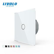 Сенсорный выключатель Livolo стекло (VL-C701-11) . Цвет белый