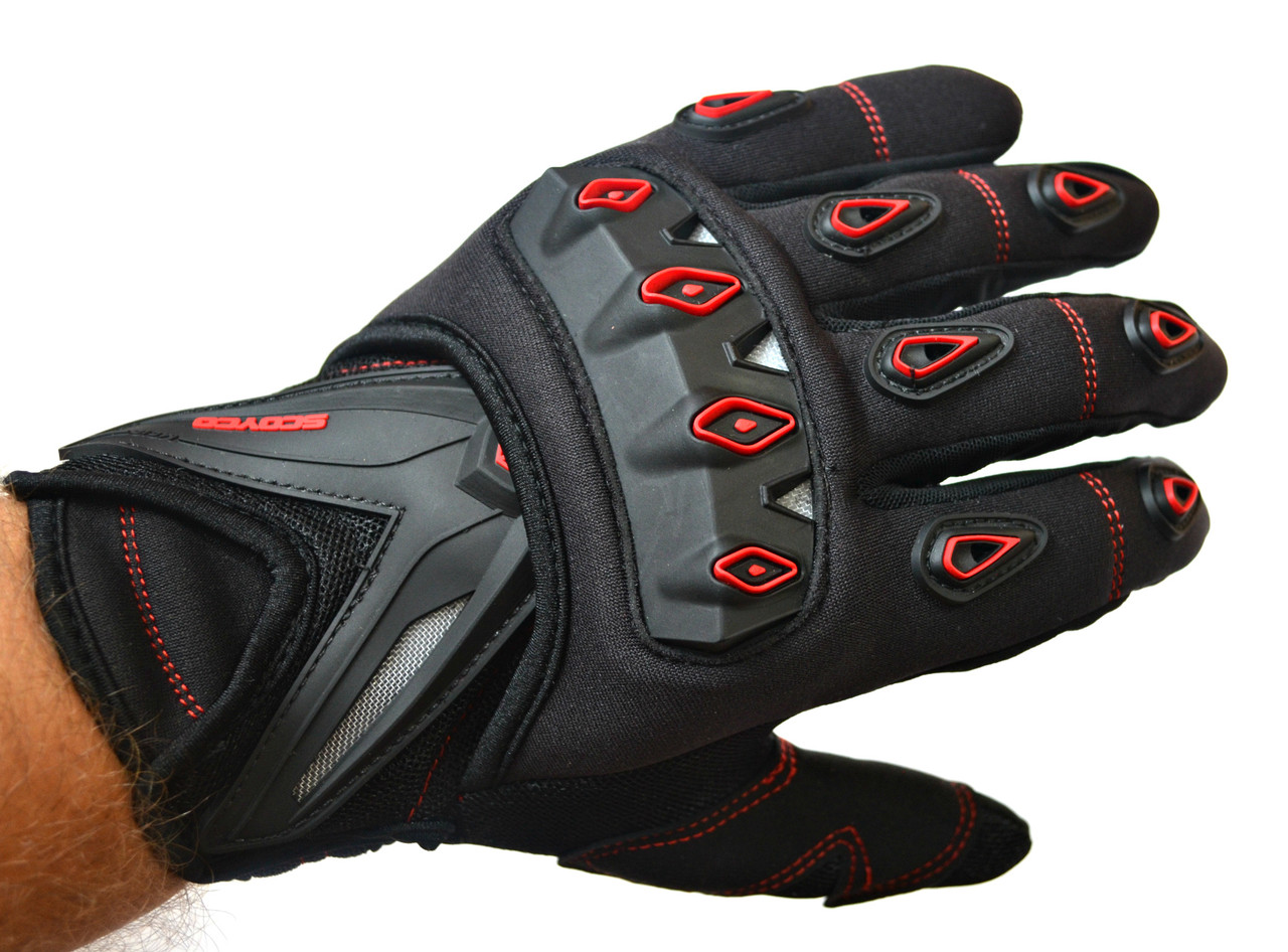 Мото перчатки SCOYCO MC10 red, мотоперчатки текстильные с защитой