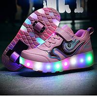 Светящиеся кроссовки с колесиками, на 2 роликах, USB зарядка, в стиле heelys, розовые (N-3511)